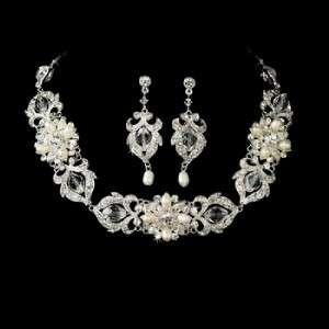 Ivory Pearl & Crystals Bridal Earring Necklace Set