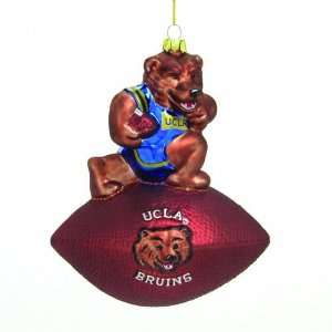 UCLA Bruins 6 Glass Mascot Football Ornament Sports