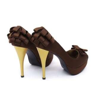 Womens Bowknot Platform High Heels Shoes Pump Stiletto