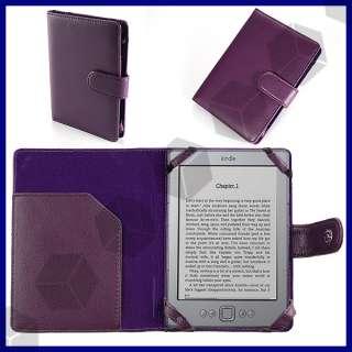 etui cuir + lampe LED pour  KINDLE 4 2011 violet noir rose blanc
