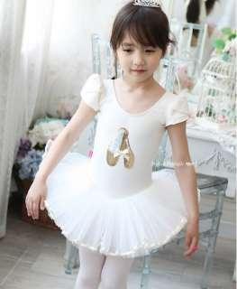 Girls Party Dance Ballet Tutu Dress Costume 3 8y White Leotard Color