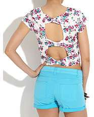 White Pattern (White) White Floral Bow Back Crop Top  253084119  New