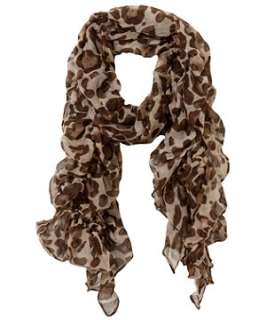 Brown Pattern (Brown) Frilled Leopard Print Scarf  233450829  New