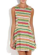null (Multi Col) Mela Bright Stripe Dress  260263499  New Look