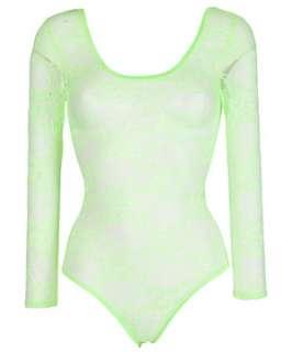 Gooseberry (Green) Neon Green Lace Bodysuit  250882935  New Look