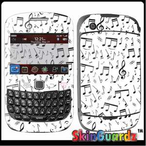 Music Note White Vinyl Case Decal Skin To Cover BLACKBERRY CURVE 8520