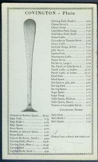 1934 Gorham Co. Covington Sterling Silver Price List