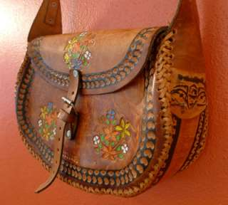 vtg 70s HAND TOOLED Leather Painted FLOWER brown Hippie MEXICO