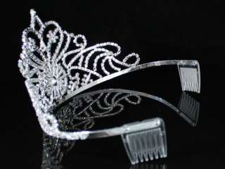 DAZZLING PAGEANT RHINESTONE CRYSTAL TIARA CROWN W/ HAIR COMBS BRIDAL