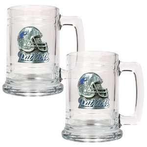 com New England Patriots NFL 2pc 15oz Glass Tankard Set  Helmet Logo