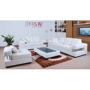 Leather Living Room Sets on Sanremo Leather Living Room Set Off White  Home   Kitchen