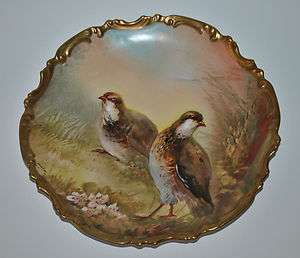 FRENCH LIMOGES PORCELAIN GAME PLATE QUAIL BIRDS HAND PAINTED