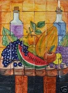 Mexican Talavera Tile Mural TABLE FRUIT DESIGN DELICIOUS 48 pcs 24