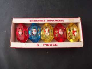 Vintage 1960s Decor Jewelbrite Christmas Ornaments Santa Holly Bells