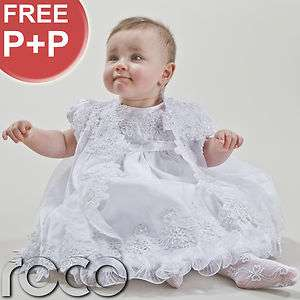 Baby Girls White Ivory Christening Dresses Embroidered Dress Bonnet
