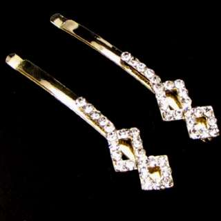 2 Rhinestone crystal fashion hair side clip pin wedding