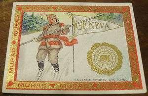 1910 1911 T 51 MURAD CIGARETTES GENEVA COLLEGE LOGO NO CREASE