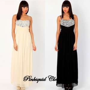 or Black Formal Evening / Prom / Wedding Maxi Dress Gown 10 12 14 16