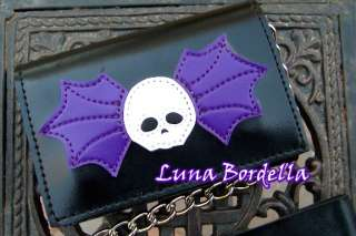 ADDICTED~Skull Bat Wallet/Chain~Black/Purple~Goth/Punk