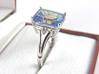 Topaz Mystic, Diamond Ring 2.97ct 10k White Gold Size 7 Resize 6 8