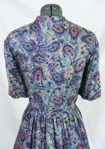 Vintage 50s 60s Blue Paisley Dress Tall/Long Button 38 Waist XXL