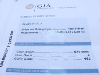 GIA Certified 5.19 Carat pear shape L vs 2 Ladies Platinum Diamond