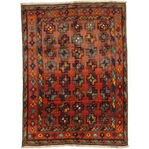 69 x 92 Red Persian Hand Knotted Wool Bokhara Rug: Home