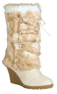 Neff Winter Faux Fur Suede Wedge Boots Ice Winter White