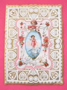 Vintage Victorian Valentine Card Gold & White Hearts Embossed Paper 4