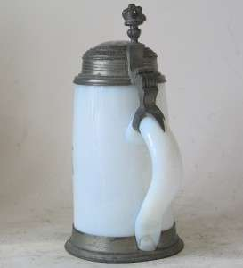 Antique German Milk Glass Beer Stein Hand Painted Enamel Biedermeier c