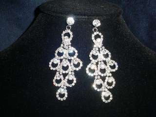 PRETTY CLEAR CRYSTAL PEACOCK NECKLACE AND EARRING SET