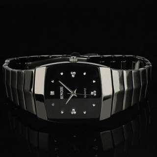 New Mens Black Dial Steel Analog Quartz Wrist Watch 18
