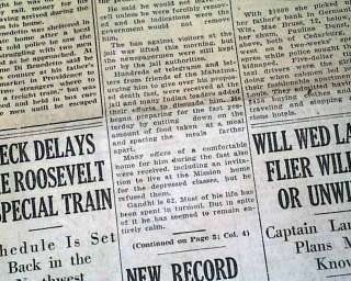 MAHATMA GANDHI Hunger Strike Begins FAST UNTO DEATH 1932 Old Newspaper