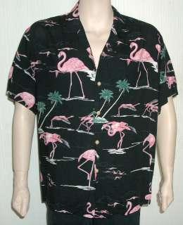 Vtg Paradise Found Hawaiian Aloha Shirt Black Pink Flamingo