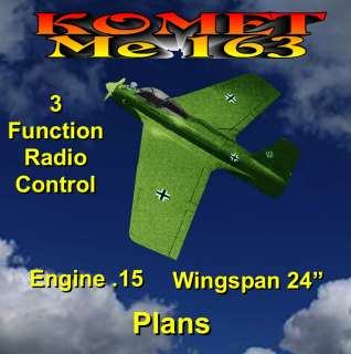 163 KOMET MODEL AIRPLANE PLANS INCLUDES BUILDING & SCALE NOTES