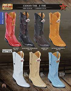 Toe Genuine Caiman Tail Mens Western Cowboy Boots Diff. Colors/Sizes
