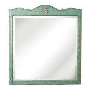 Collection Keys 36 in. H x 33 in. W Bath Mirror in Antique Blue Frame