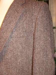 Vtg Mens Dark Brown Black Herringbone Wool Harris Tweed Sport Coat
