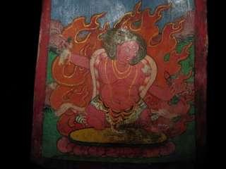 Old Nepal Tibet Buddhist Buddha Mahakhala Bone Thangka