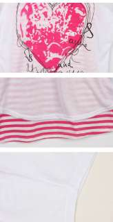 Casual Womens heart shaped love T shirt stripe Blouse Batwing Loose