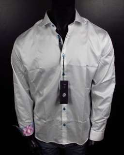 Mens Shirt STONE ROSE Bright White Red Rivet Collection MIA 700 Button