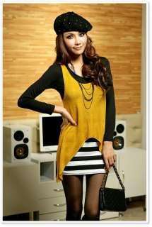 Japan Korea Women Lady Yellow Stripe 2 pcs Long Sleeve Dress B2111