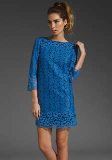 TIBI Katya Lace 3/4 Sleeve Dress in Cobalt at Revolve Clothing   Free
