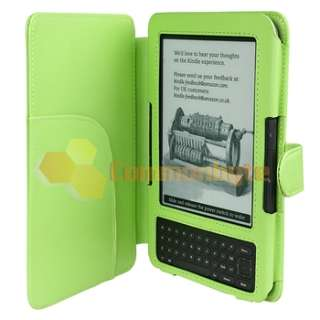 Green Leather Pouch Skin Case Cover Wallet For  Kindle 3 3G