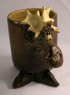 Vintage Art Pottery MOOSE Artist Shepard Face Mug 1993