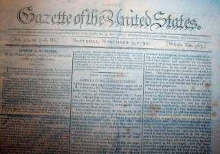 1791 newspaper WASHINGTON DC New Federal Capital City offers 1st Lots