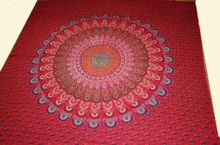 Tagesdecke MANDALA Bettüberwurf Dekotuch Indien Rot O59