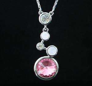 CIRCLES PINK AUSTRIAN RHINESTONE CRYSTAL NECKLACE PENDANT CHAIN GOLD