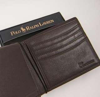 Nwt $75 Authentic Polo Ralph Lauren Mens Passcase Wallet Brown + Gift