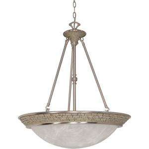 Pendant with Alabaster Swirl Glass Shades Finished in Brushed Nickel